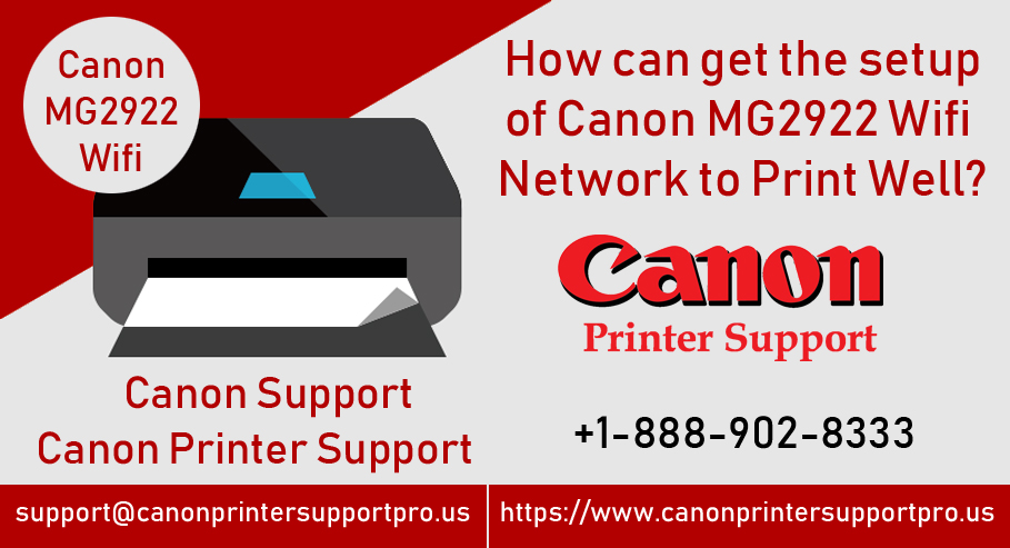 How can get the setup of Canon MG2922 Wifi network to print well