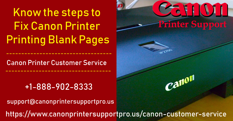 Know the steps to Fix Canon Printer Printing Blank Pages